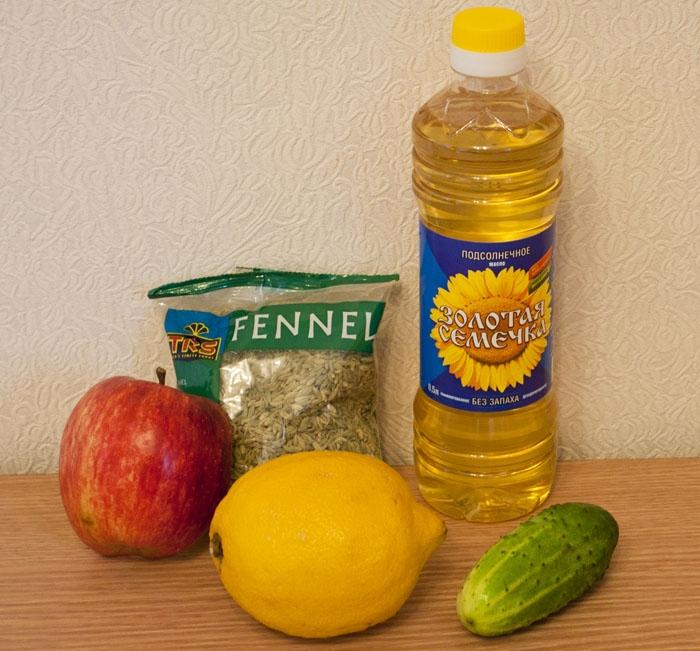 яблоко, огурец,  фенхель, лимон, масло растительное
