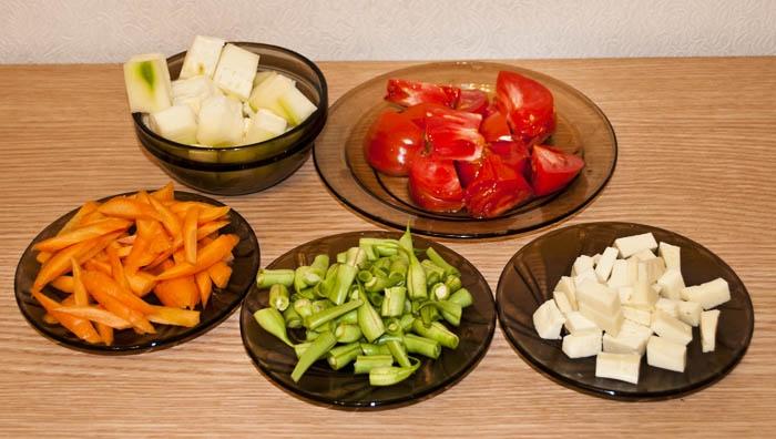 Режим овощи крупными кусочками.