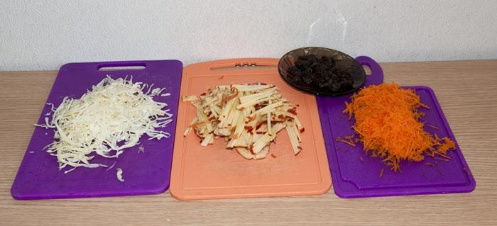 Морковь, яблоко, капуста и изюм
