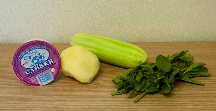 кабачок, картофель, сливки, мята