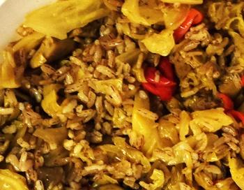 Тушеная капустя с грибами рыжиками и рисом рецепт